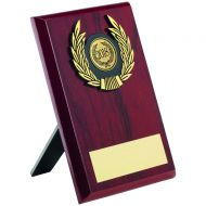 Rosewood Plaque and Gold Trim Trophy - 6in