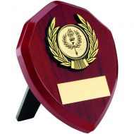Rosewood Shield and Gold Trim Trophy - 4in