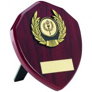 Rosewood Shield and Gold Trim Trophy - 5in
