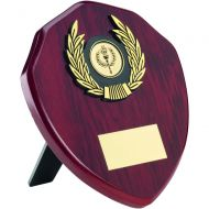 Rosewood Shield and Gold Trim Trophy - 6in