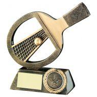 Bronze/Gold Table Tennis Bat/Net/Ball Trophy 5in
