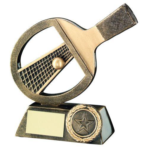 Bronze Gold Table Tennis Bat Net Ball Trophy 6in