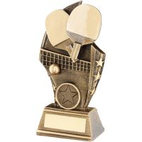 Bronze Gold Table Tennis Curved Plaque Trophy - (1in Centre) 6.75in