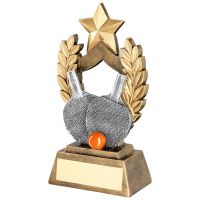 Bronze Gold Gold Pewter Orange Table Tennis Wreath Shield Trophy Award With Gold Star Trophy Award - 6.5in