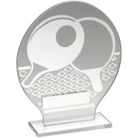 Jade Glass Round Plaque With Silver Table Tennis Design Trophy Award - 6.5in