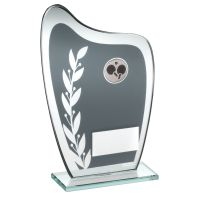 Grey Silver Glass Plaque With Table Tennis Insert Trophy 7.25in