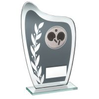 Grey Silver Glass Plaque With Table Tennis Insert Trophy 6.5in