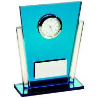 Blue Clear Glass Tapered Rectangle Clock Trophy - 5.25in