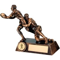 Bronze-Gold Double Rugby Tackle Figure Trophy - 6.75in (New 2014)