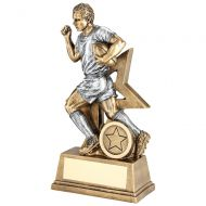 Bronze Pewter Male Rugby Figure With Star Backing Trophy Award - 9in