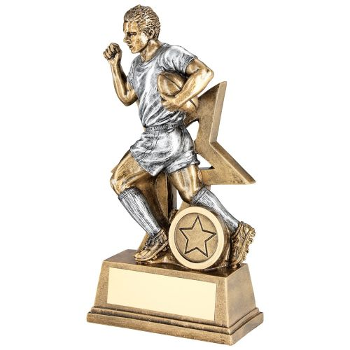Bronze Pewter Male Rugby Figure With Star Backing Trophy Award - 7in