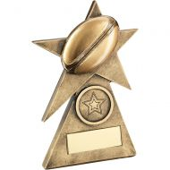 Bronze Gold Rugby Star On Pyramid Base Trophy - (1in Centre) - 4in