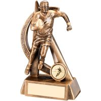Bronze Gold Rugby Geo Figure Trophy - 6in