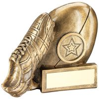 Bronze Gold Gold Rugby Ball And Boot Chunky Flatback Trophy Award - 4.25in