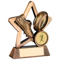 Bronze Gold Resin Rugby Mini Star Trophy - 3.75in