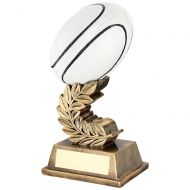 Bronze Gold Black White Rugby Ball On Laurel Leaf Trophy Award - 6.75in