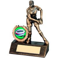 Bronze Gold Resin Mini Female Rugby Trophy - 4.25in
