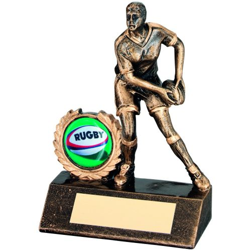 Bronze Gold Resin Mini Female Rugby Trophy - 5.25in