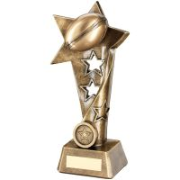 Bronze Gold Rugby Twisted Star Column Trophy - (1in Centre) 9in