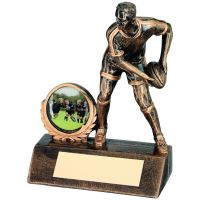 Bronze Gold Resin Mini Male Rugby Trophy - 4.25in
