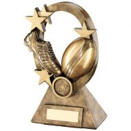 Bronze Gold Rugby Oval Stars Series Trophy - (1in Centre) 6.25in