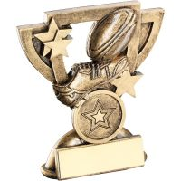 Bronze Gold Rugby Mini Cup Trophy Award Trophy - (1in Centre) 4.25in