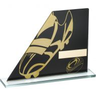 Black/Gold Printed Glass Plaque With Rugby Boot/Ball Trophy - 5.75in