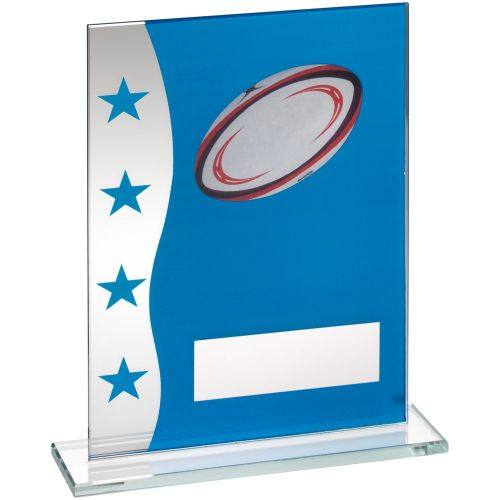 Blue Silver Printed Glass Plaque With Rugby Ball Image Trophy Award - 8in