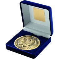 Blue Velvet Box+Medal Rugby Trophy - Antique Gold 4in