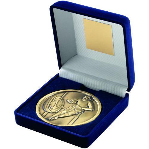 Blue Velvet Box+Medal Rugby Trophy - Antique Gold 4in
