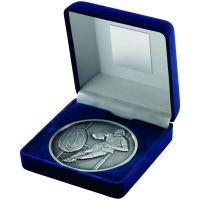 Blue Velvet Box+Medal Rugby Trophy - Antique Silver 4in
