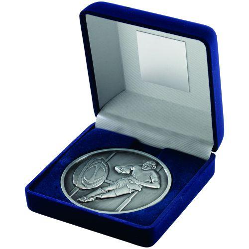 Blue Velvet Box+Medal Rugby Trophy - Antique Silver 4in