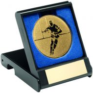 Black Plastic Box and Gold Rugby Centre - 3.5in