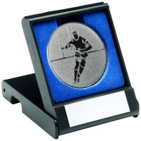 Black Plastic Box And Silver Rugby Centre - 3.5in