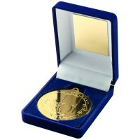 Blue Velvet Box And Gold Rugby Medal Trophy - 3.5in