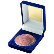 Blue Velvet Box and Bronze Rugby Medal Trophy - 3.5in