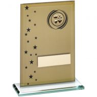 Gold Black Printed Glass Rectangle With Cards Insert Trophy - 6in