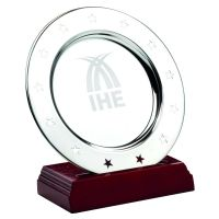 Stainless Steel Stars Salver On Wooden Stand - 4.5in