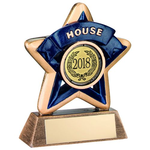 Bronze-Gold-Blue House Mini Star Trophy - 3.75in (New 2014)