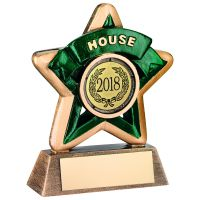 Bronze-Gold-Green House Mini Star Trophy - 3.75in (New 2014)