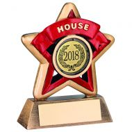 Bronze-Gold-Red House Mini Star Trophy - 3.75in (New 2014)