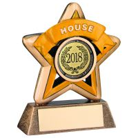 Bronze-Gold-Yellow House Mini Star Trophy - 3.75in (New 2014)