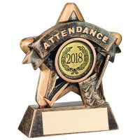 Bronze-Gold Attendance Mini Star Trophy - 3.75in (New 2014)