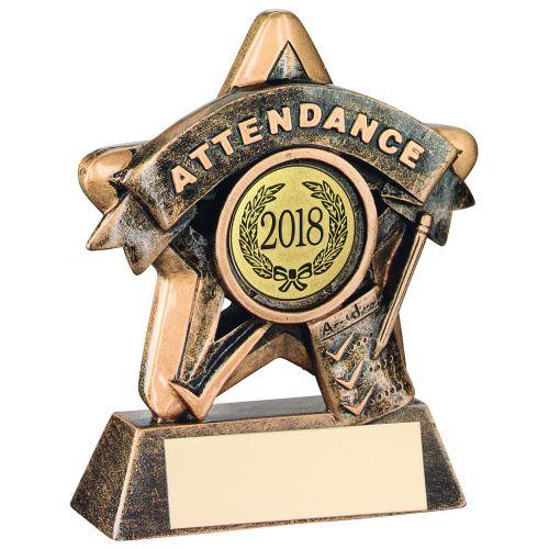 Bronze-Gold Attendance Mini Star Trophy - 3.75in (New 2014)