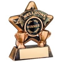 Bronze-Gold Well Done Mini Star Trophy - 3.75in (New 2014)