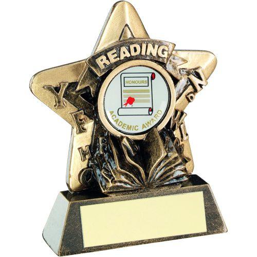 Bronze Gold Reading Mini Star Trophy 3.75in