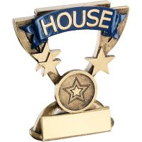 Bronze Gold School House Mini Cup Trophy Award Trophy - Blue (1in Centre) 3.75in