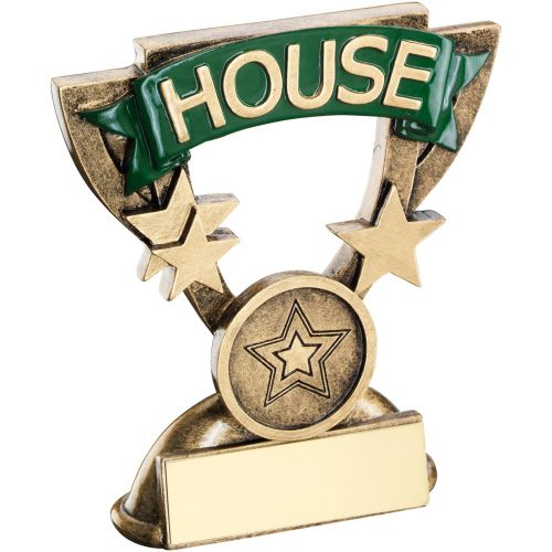 Bronze Gold School House Mini Cup Trophy Award Trophy - Green (1in Centre) 3.75in