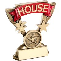 Bronze Gold School House Mini Cup Trophy Award Trophy - Red (1in Centre) 3.75in