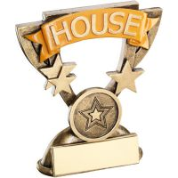 Bronze Gold School House Mini Cup Trophy Award Trophy - Yellow (1in Centre) 3.75in
